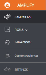 """""""Pixels"""" and click """"Conversions"""" in the drop-down"""